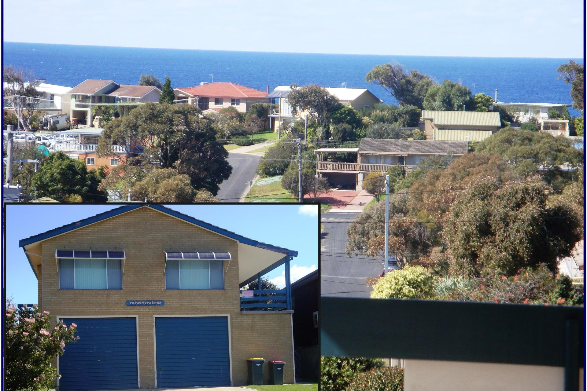 Expansive views over town, harbour and out to Montague Island.